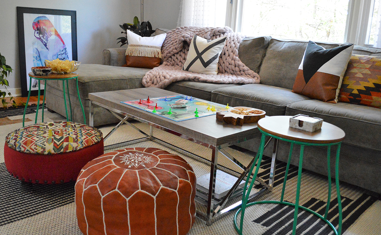 Living room seating, game night, board game, ottoman, side table, stool, couch