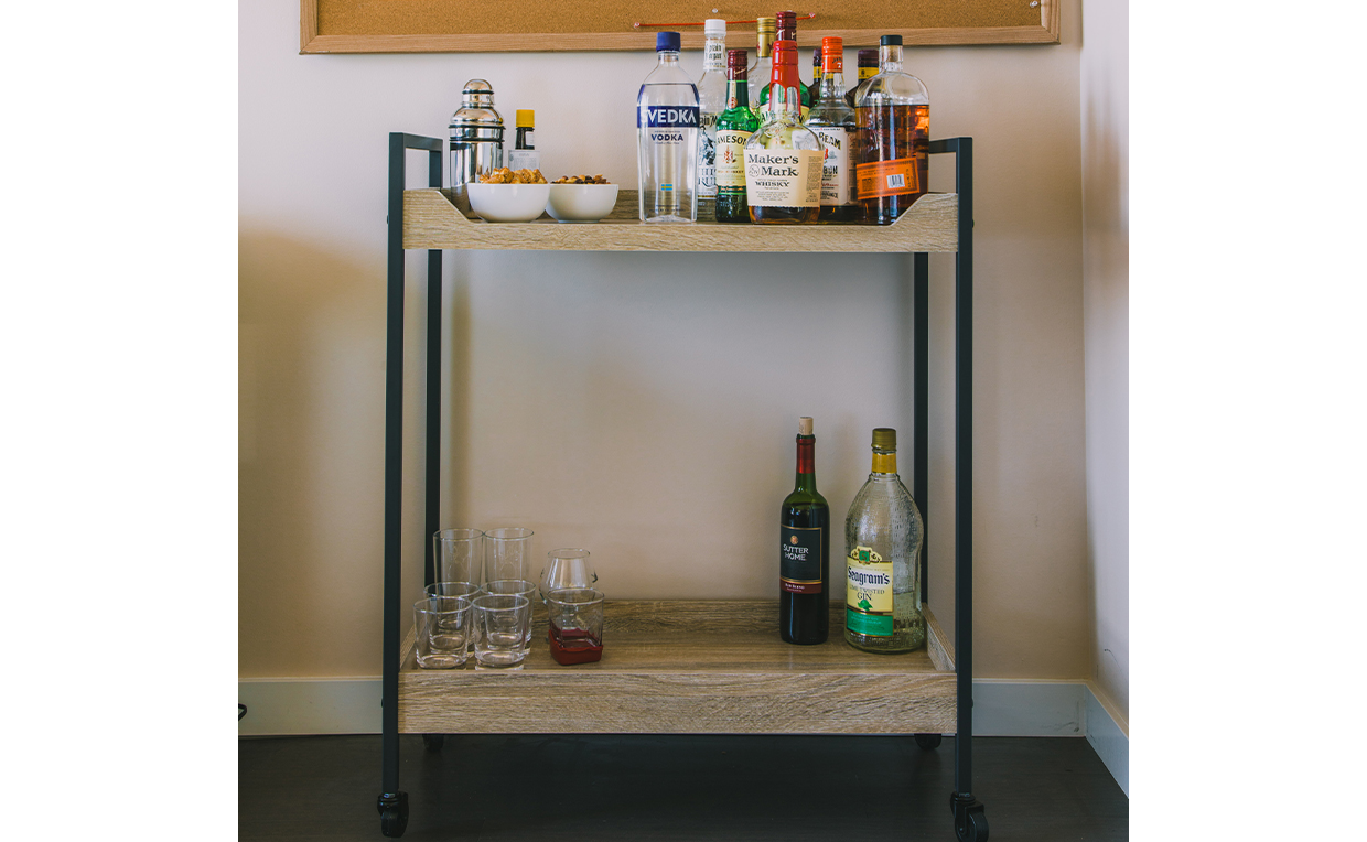 Bar cart, bar ware, living room, entertaining, party