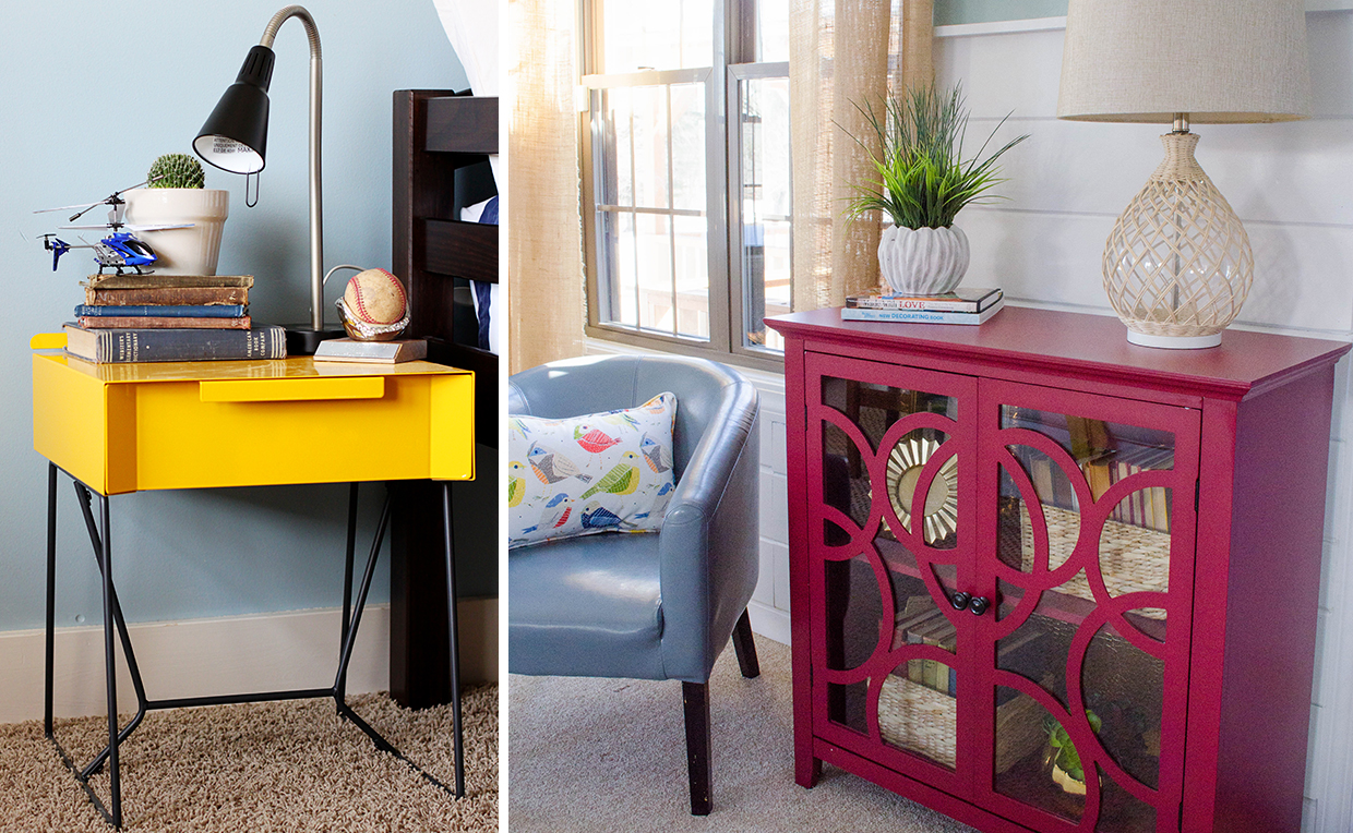 Make bold choices with colorful furniture: side table and cabinet