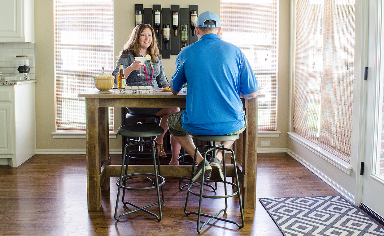 Counter-height stool, metal stool, wood table, counter-height table, kitchen seating