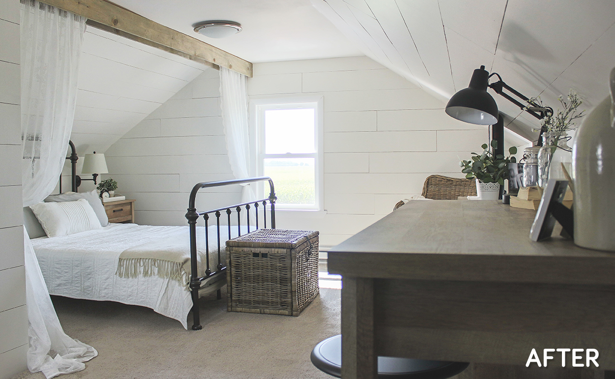 master bedroom makeover: boring bedroom turned rustic retreat