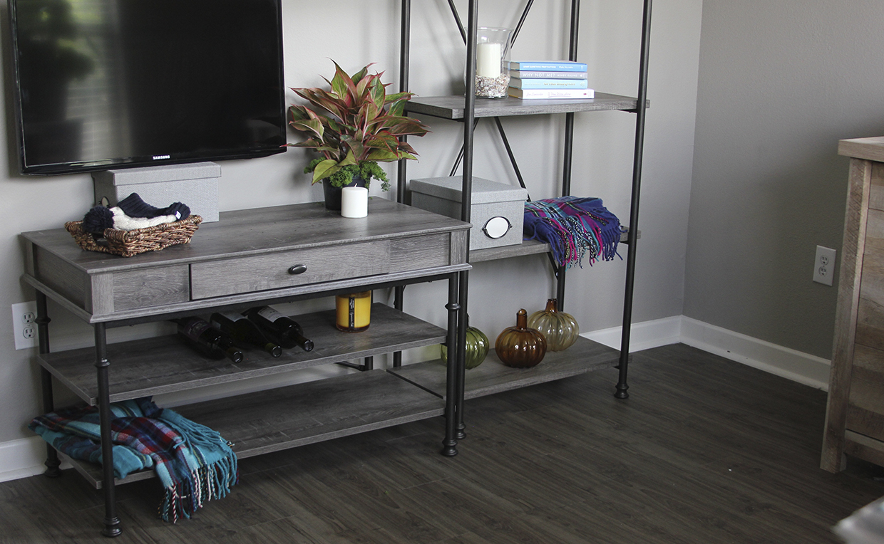 Canal Street TV Stand, Canal Street 5-Shelf Bookcase
