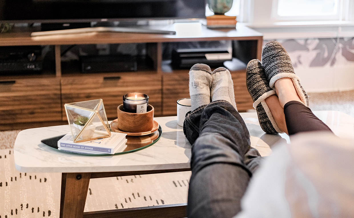 Relaxing with feet up, coffee table