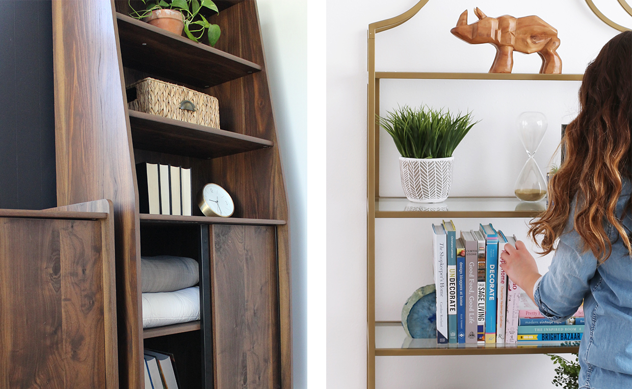 Midcentury Modern bookcase with doors, gold metal tower bookcase