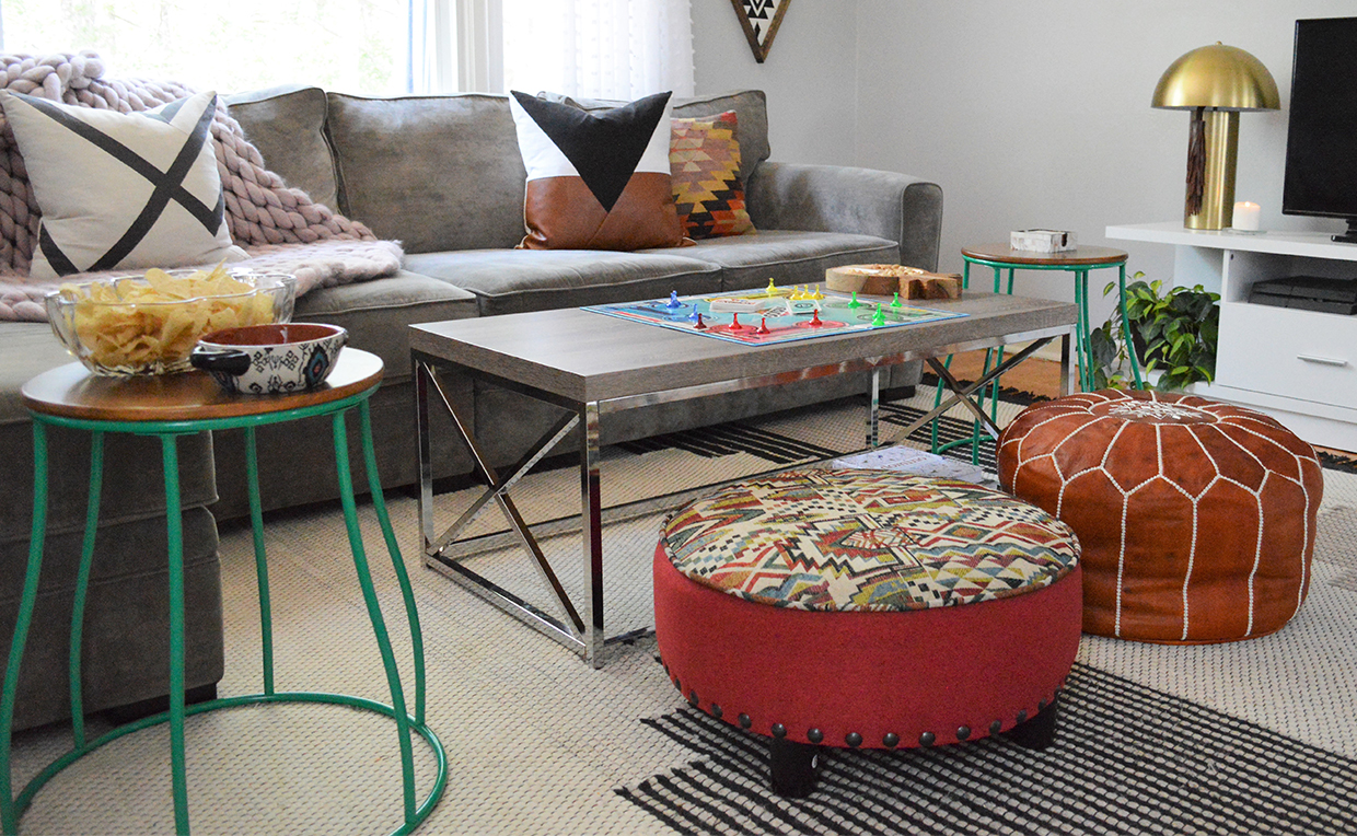 Living room seating, ottoman, stool, side table, game night, board game