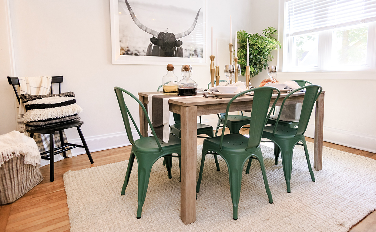 Dining chair, dining room, green chair, black chair, metal chair, dining table, wood table