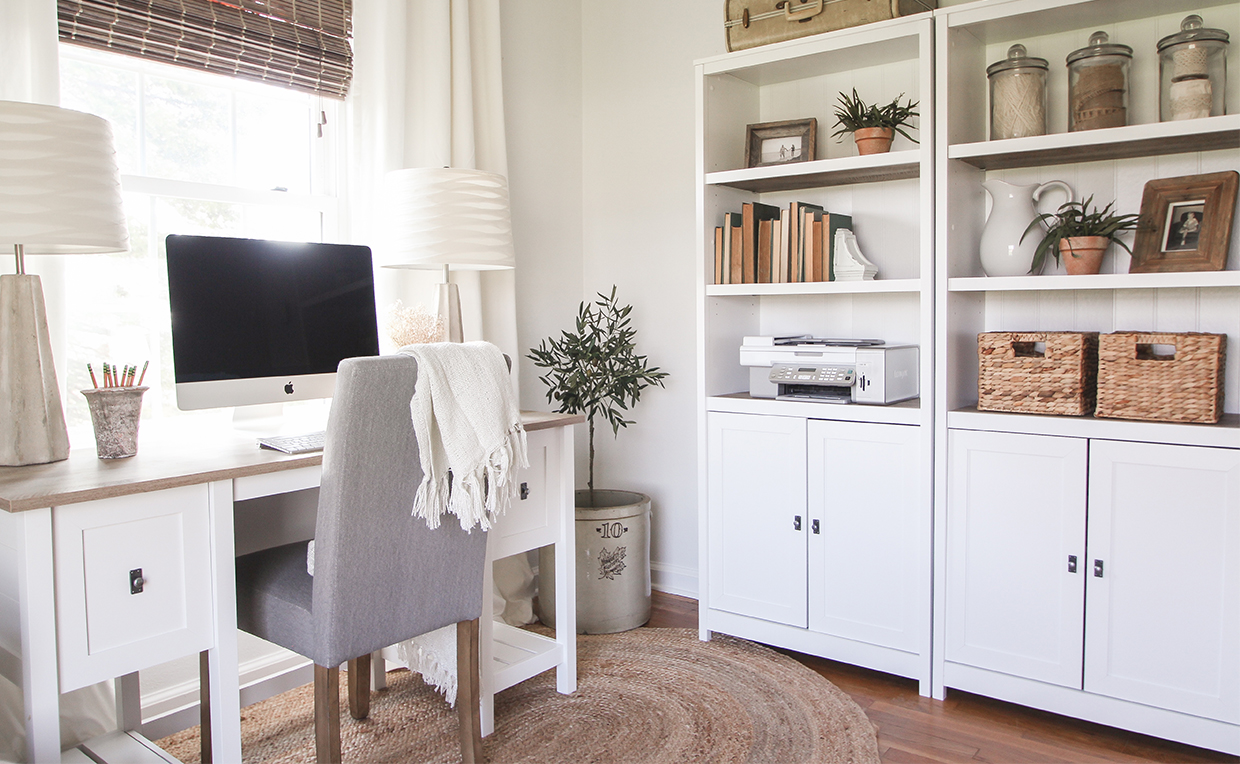 Cottage Road Library and Desk for home office productivity