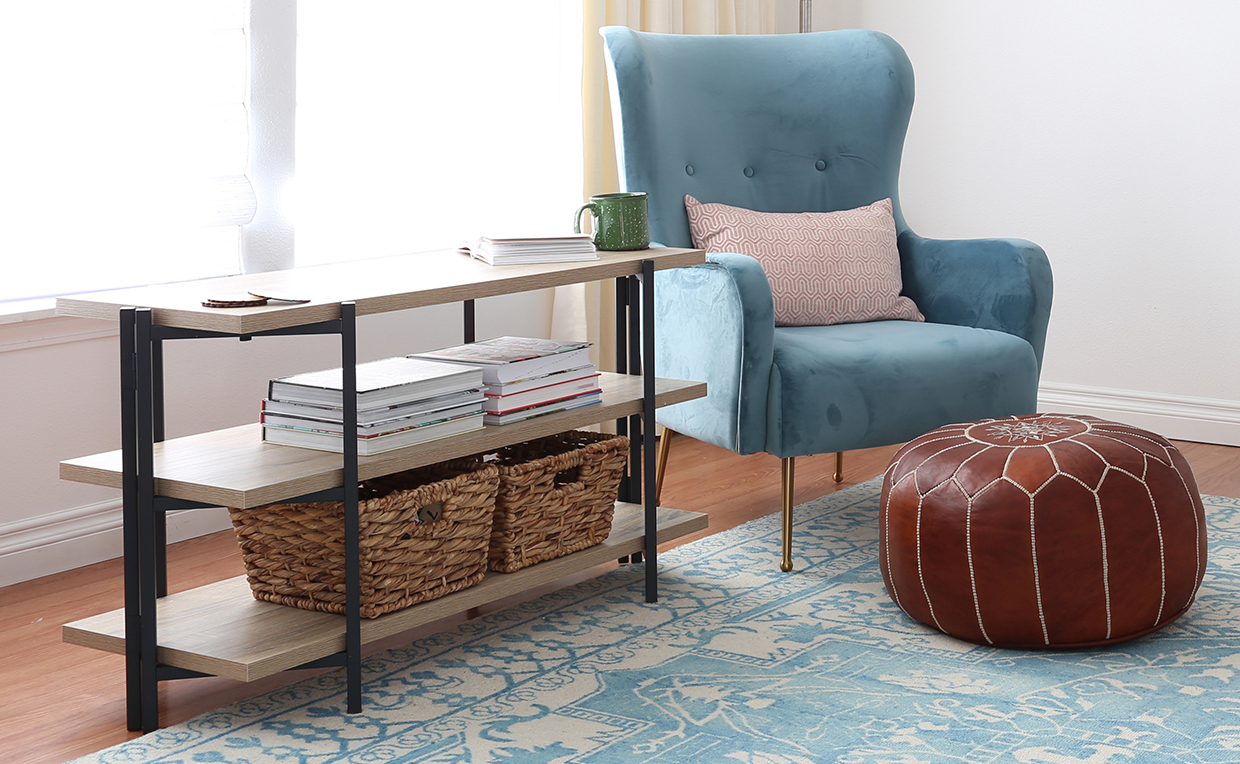 Storage console table in living room