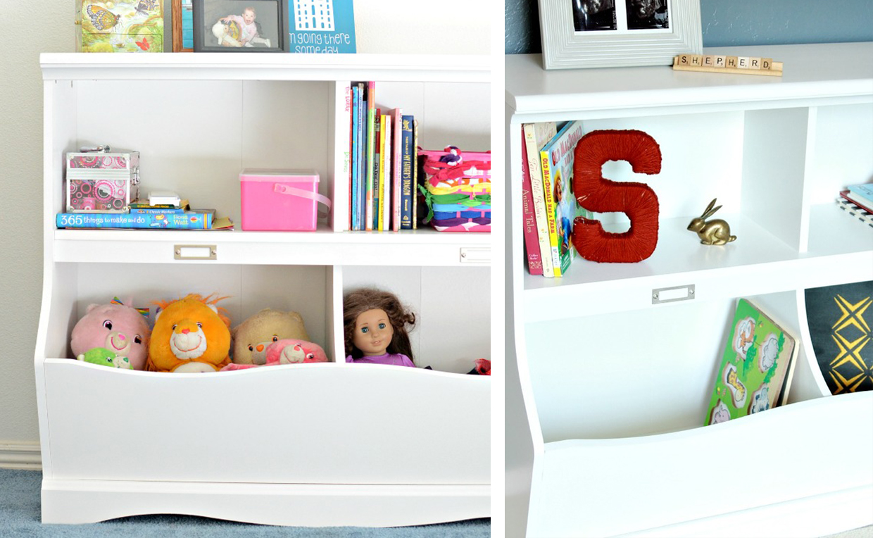 toy storage in bookcase with cubby