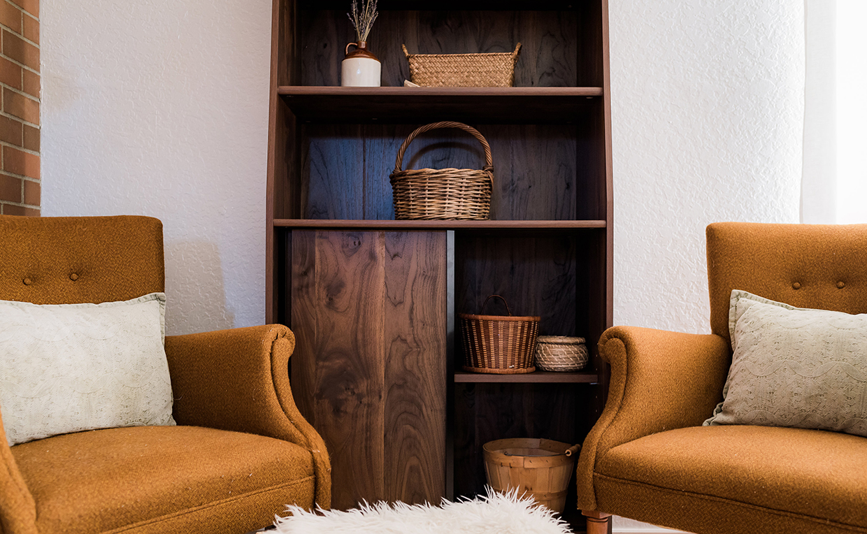 Midcentury Modern bookcase with doors