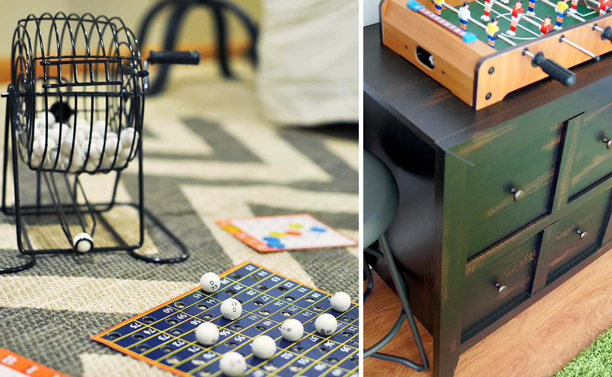 Have games like bingo and foosball for your guests when entertaining.