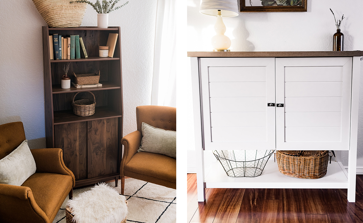 Midcentury Modern bookcase with doors, cottage-style storage cabinet