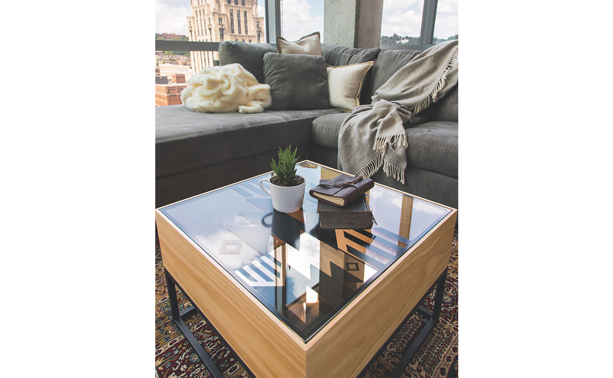 Coffee table, loft apartment, cozy, blanket, couch, urban