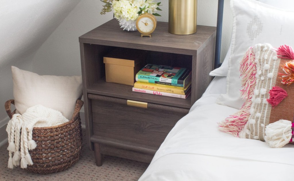 International Lux Night Stand with drawer and open storage
