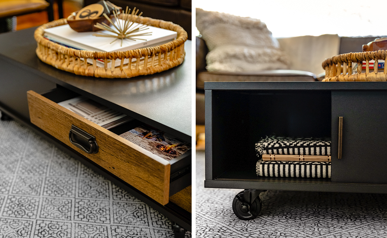 Industrial coffee table with wooden storage drawers