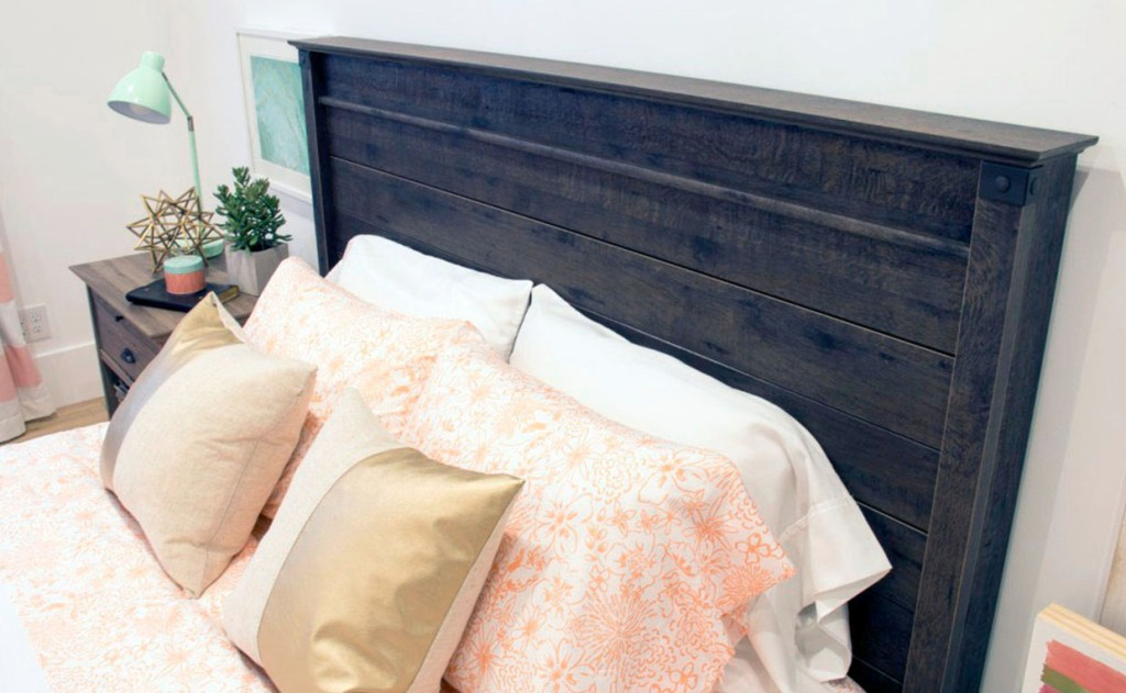 Carson Forge Headboard and throw pillows