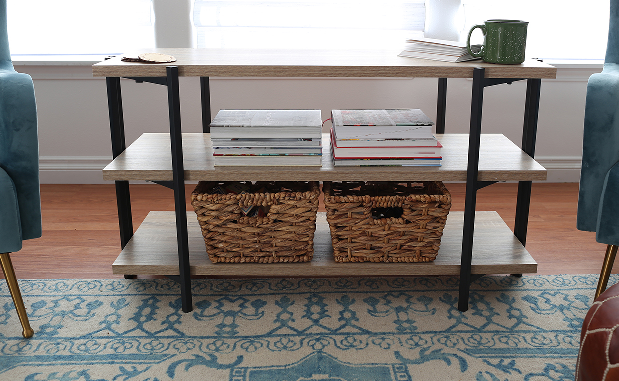 Console table with storage shelves