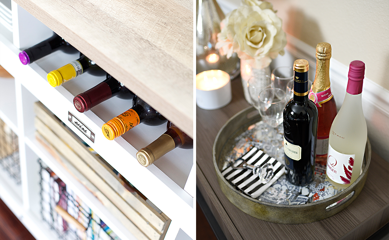 Trays and cutting boards can help with entertaining and serving wine and drinks.