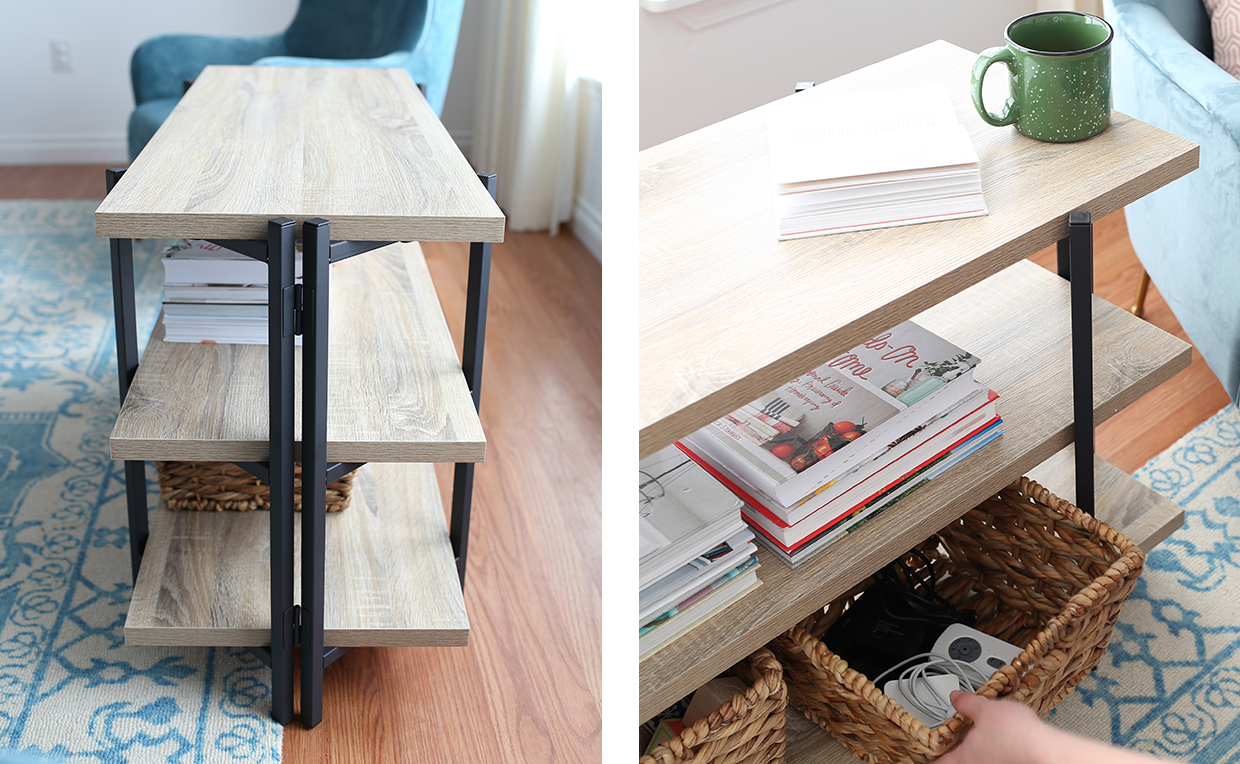 storage console table with storage shelves