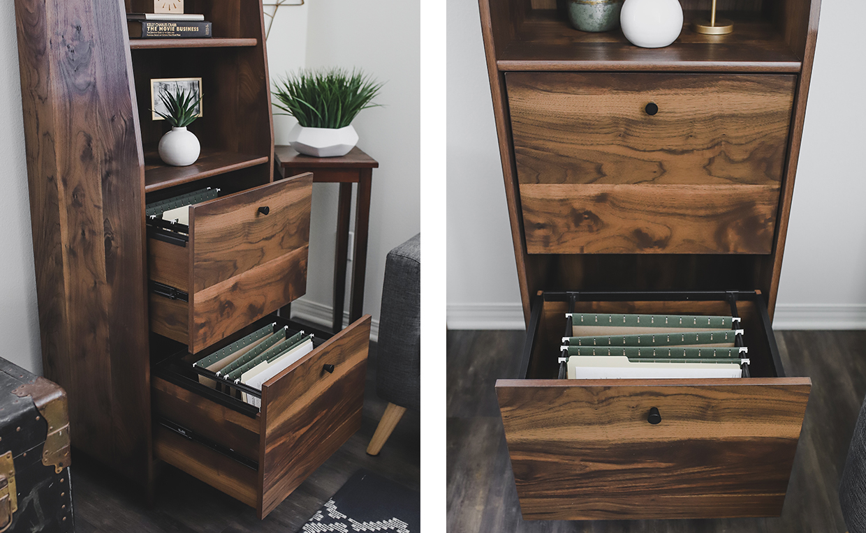 Midcentury Modern bookcase with drawers, home office file storage