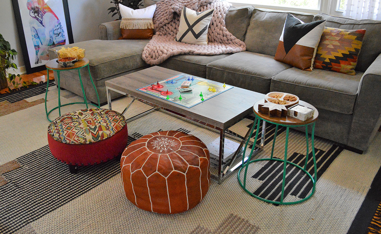 Ottoman, living room seating, stool, chairs, couch, sofa, game night, board game