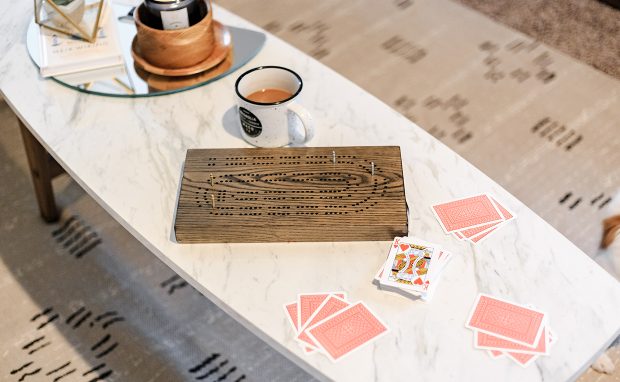 Coffee table, relaxing, living room furniture, cozy, board game, card game, cribbage