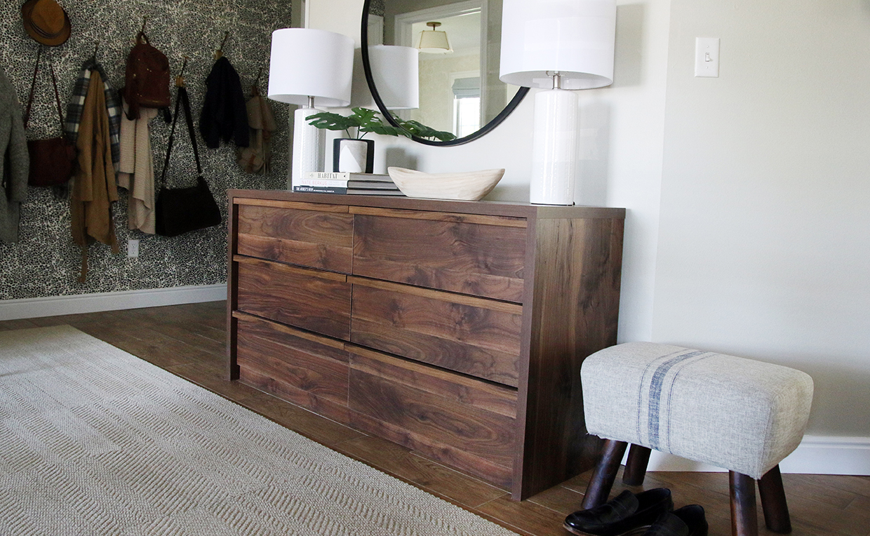 Dresser and mirror with lamps, coat rack and stool