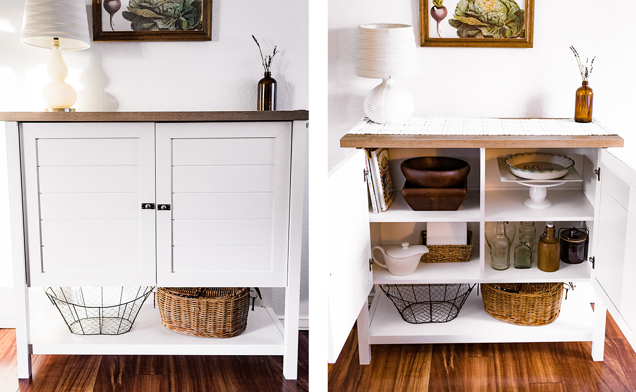 Cottage-style storage cabinet with shelves in dining room
