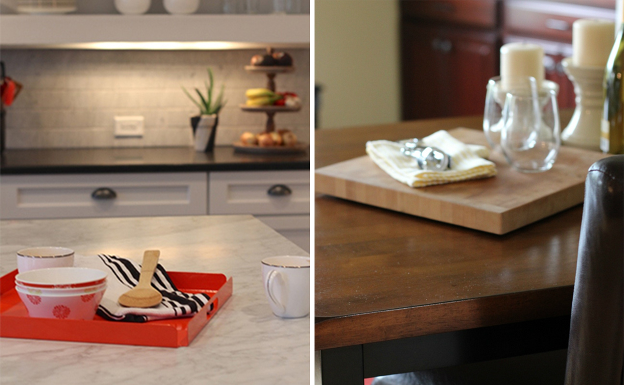 Trays and cutting boards can help with entertaining.