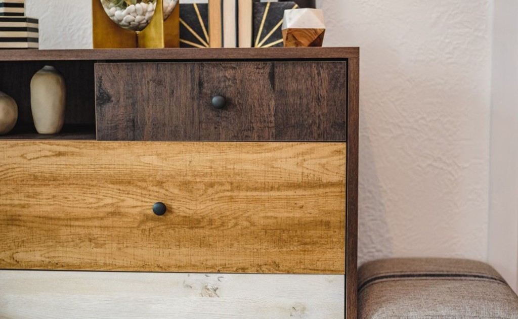 Spiced Mahogany mixed woodgrain finishes of Eden Rue Credenza