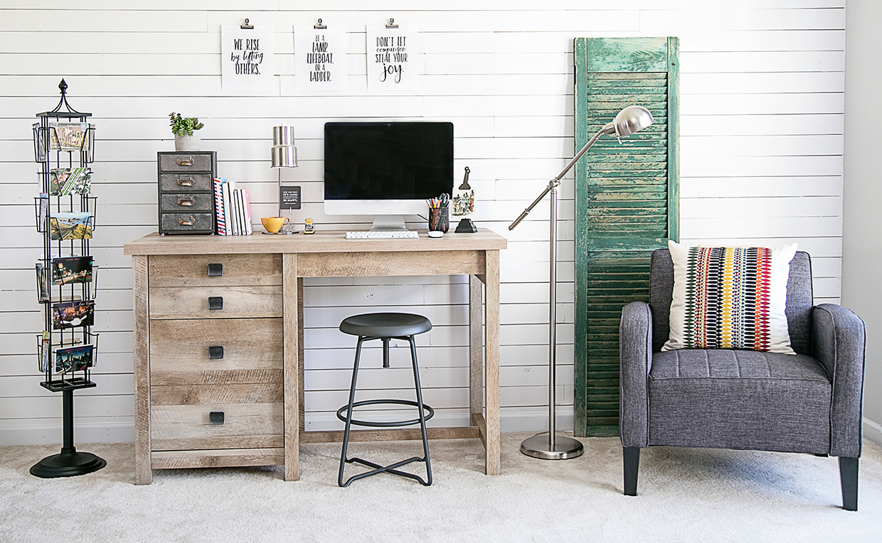 Modern farmhouse office with vintage elements