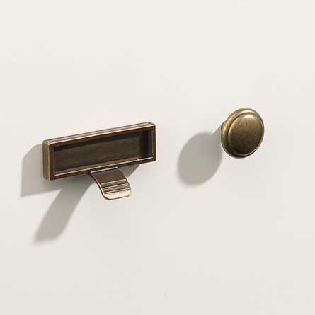 Traditional Brass Finger Pull with Card Holder and Round Knob Set