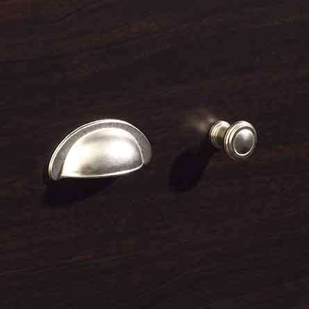 Transitional Satin Nickel Metal Bin Pull and Round Knob Set
