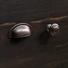 Traditional Barrel Pewter Bin Pull and Round Knob with Base Set