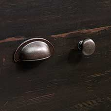 Traditional Barrel Pewter Bin Pull and Round Knob Set