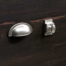Transitional Satin Nickel Metal Bin Pull and Cupboard Latch Knob Set