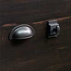 Vintage Dark Spanish Metal Bin Pull and Cupboard Latch Knob Set
