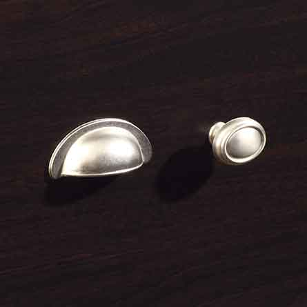 Transitional Satin Nickel Metal Bin Pull and Oval Knob with Base Set