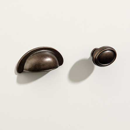 Traditional Barrel Pewter Bin Pull and Oval Knob with Base Set