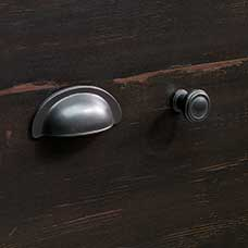 Vintage Dark Spanish Metal Bin Pull and Round Knob Set
