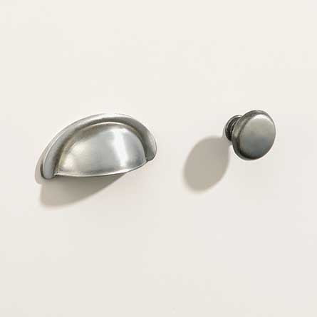 Country Antique Pewter Bin Pull and Round Knob Set