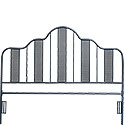 Navy Blue Queen Size Metal Headboard 420101