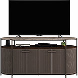 Modern Metal TV Stand with Faux Stone Top 424250