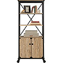 Rustic Metal & Wood Bookcase with Doors 425910