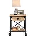 Rustic Metal & Wood Side Table with Casters 425911