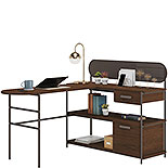 Modern Metal and Wood L-Shaped Desk 426026