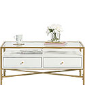 White Contemporary Glass-Top Coffee Table 427114