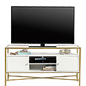 White Contemporary Glass-Top TV Credenza 427116