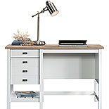 Soft White Coastal Single Pedestal Desk 427309