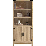 Orchard Oak 5-Shelf Tall Bookcase with Doors 427324